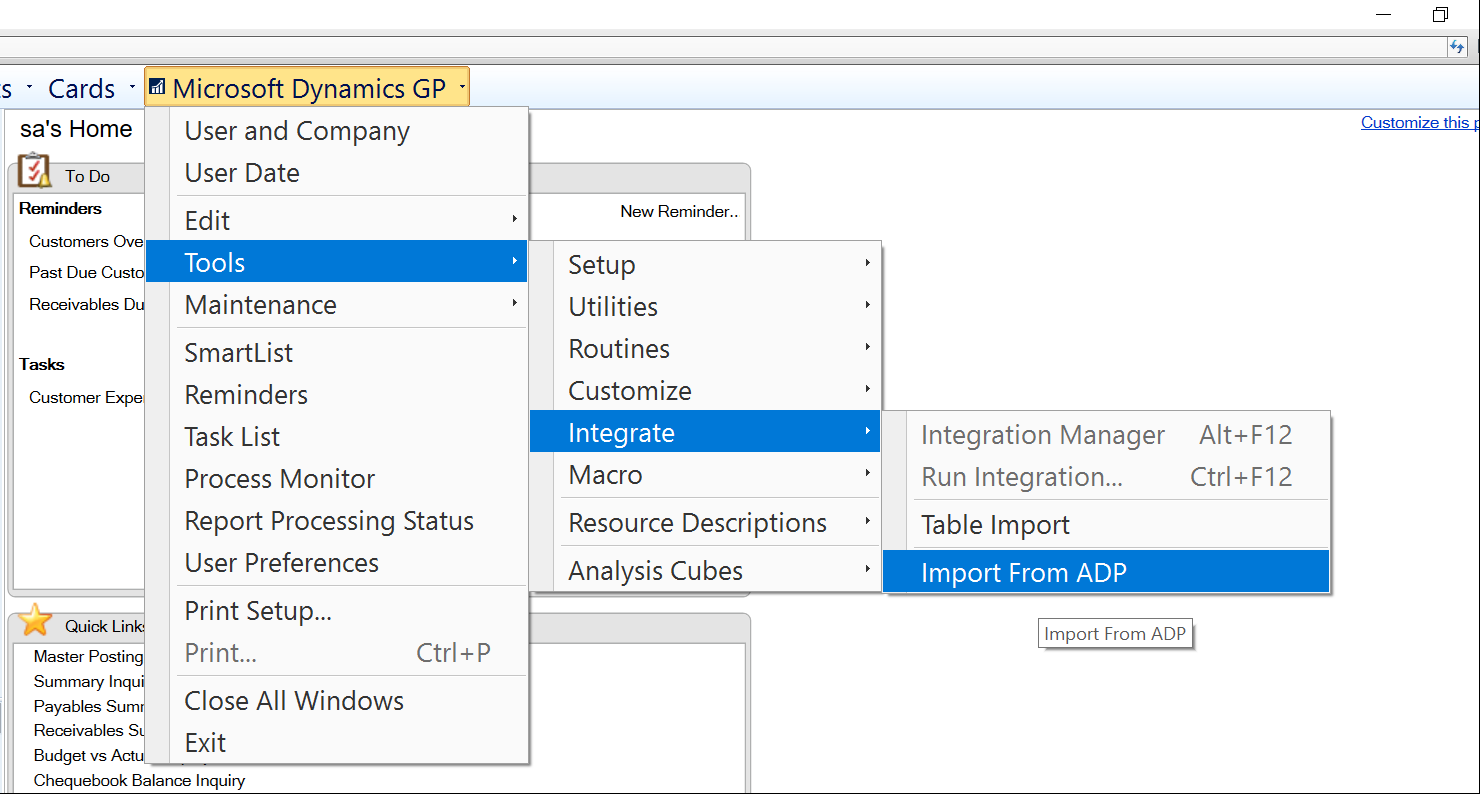 How to import Payroll ADP file data to Microsoft Dynamics GP
