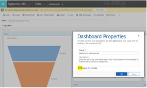 Dynamics 365 Enable dashboard